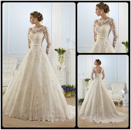 Wholesale 2016 Romantic Fashion Ivory Long Sleeves Lace Illusion Corset Tied Back Ball Gown Wedding Dresses Vestidos De Noiva Tulle Vintage