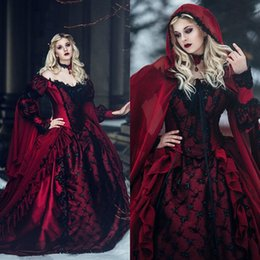 Wholesale Gothic Sleeping Beauty Dark Red and Black Wedding Dresses Victorain Off the Shoulder Corset Beaded Lace Ruffles Bridal Gowns with Long Train