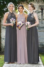 Charming Lace Bridesmaid Dresses Long Gray Pink Chiffon Evening Gowns 2016 A-Line Halter Pleated Vintage Garden Beach Wedding Guest Custom