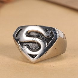 Jewelry Superman 316L Stainless Steel Silver Boy's Mens Band Ring Size 7-13