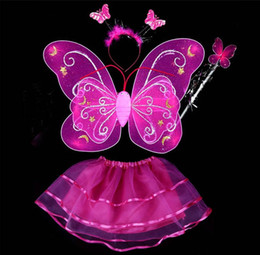 Freeshipping 20set lot Carnival costumes wholesale 6 colors mix 4pcs in one set Single layer Fairy Wings Set with Tutu