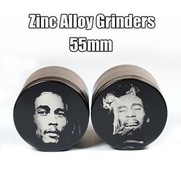 Wholesale 55mm Grinders Bob Marley Grinders Zinc Alloy Grinder Best Quality Herbal Crusher Layers Sharpstone Grinders Magnet Cover E Cigarettes