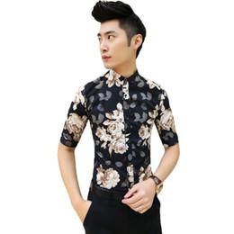 Wholesale Korean Slim Fit Shirts Brand - 2015 New Men's Fashion Flower Shirt Men Short Sleeve Shirt Casual Men Dress Brand Shirt Korean Stylish Men Slim Fit Black   Blue