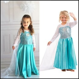 Wholesale Samgami Baby girls Frozen Elsa Princess dresses with sequins long veil cape girl cosplay costume with snowflake in the chest party Sa0004