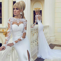 Custom 2015 Sheer Wedding Dresses Bateau Neck Long Sleeve High Slit White Evening Dress See Through Cutouts Lace Top Mermaid Bridal Gowns