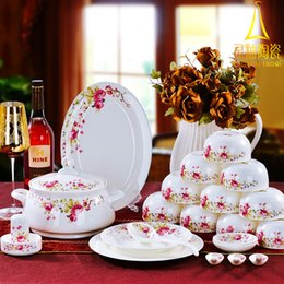 Wholesale-Jingdezhen bone china dinnerware set 56 bone china ceramic dishes set wedding gifts chinese style