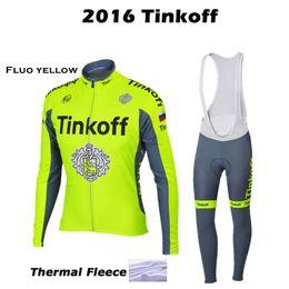 Descuento pro invierno baberos de ciclismo 2016 Tinkoff Pro Fluo amarillo invierno ciclismo Jersey manga larga bicicleta ropa Ropa Ciclismo hombre / bicicleta MTB Gel Pad babero pantalones largos conjuntos