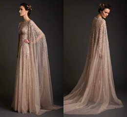 Krikor Jabotian 2019 Evening Dresses Crew Neck Sequins Tulle Plus Size Champagne Prom Dress With Cloak Custom Made Formal Prom Dress