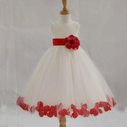 Lovely Custom Made Flowergirl Dress Ball Gown A Line Jewel Handmade Flower Sash Bow Petals Girls Gown