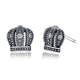 Royal Crown 925 Sterling Silver Stud Earrings with Clear Cubic Zirconia Elegant Earrings for Women ER011