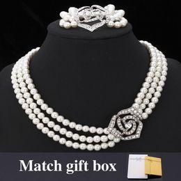 U7 European Pearl Jewelry Set Choker Pearl Necklace Bracelet Set Rose Shaped Rhinestone With Gift Box Fashion Women Jewelry Accessories