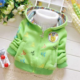 Wholesale Snow Cap Baby Girl - Wholesale-Casual Warm Winter Baby Infants Boys Babi Cartoon Thicken Hooded Snow Wear Jackets Outwear Coats Parkas With Cap S2307