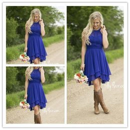 2017 Royal Blue Cheap Short Bridesmaid Dresses Halter Neck Flow Chiffon Country Style Ruched High Low Cocktail Dresses Homecoming Dresses