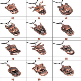 Wholesale Chinese Silver Necklaces - Factory wholesale Qinuo new China wind twelve Chinese zodiac animal antique copper Vintage Pendant Necklace Jewelry Wholesale Valentine's Da