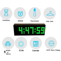 Wholesale Led Wooden Clock Digital Wood Wall Watch Big Screen Dual Alarm Watch Bedside Snooze Kitchen Timer Office Temperature Date Gift