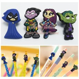 Wholesale Lovely Pencil Case - 4pcs Teen Titans Pen Decoration Pencil Cap School office supply Pen Topper Kids gift Lovely toys for student