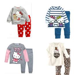 2015 summer girls hello kirtty set shirts tee+casual pants set children's clothing cotton suit kids clothes Pajamas sleepwear