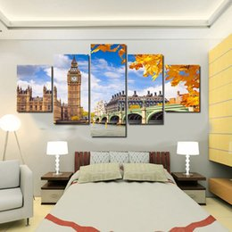 5 Panel Hot No Framed Printed City Painting On Canvas Room Decoration Print Poster Picture Canvas Wall Pictures For Living Room