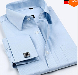 Luxury French cuff Button MENS Dress Shirt New Fashion Non Iron Long Sleeve slim striped High Quality Business formal Shirt