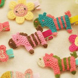 HOT 2015 spring summer little girls Hair Accessories pony children hair pin korean style cute knit cartoon kids hair clip 100pcs lot ab1271