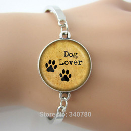 Wholesale DOG LOVER Hand Crafted bangles Pet Paws bangle Gift for Dog Lover bangle bracelets antique silver plated glass dome cuff bangle