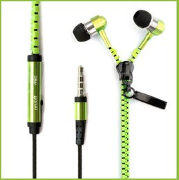 Earphone With Retail Pack Zipper Headset 3.5MM Jack Bass Earbuds In-Ear Zip Headphone For Iphone Samsung Phone MID Ipod MP3 MP4 Player