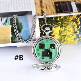 Wholesale Minecraft Creeper Hollow Clamshell Watches For men Digital Cheap Pocket Watch Top Quality Original box Christmas gift Chain Clock Quartz