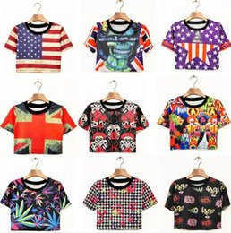 Wholesale 2015 Real Japanese Harajuku Style Ayumi Stripes Printed Short sleeved All match T shirt Female Zipper High Street Crop Tops