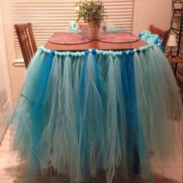 Wholesale Hot Sales Handmade Tulle Tutu Table Skirts Organza Wedding Banquet Birthday Baby Shower Party Table Decorations JM0157 salebags