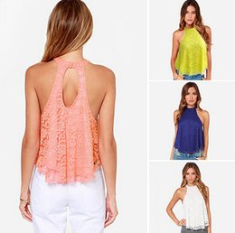 Wholesale Solid Lace Tank Tops - 2016 Summer Newest Halter Lace Blouse Women Vest Tank Casual Tops Summer Sleeveless Backless Lady Clothing Newest F054