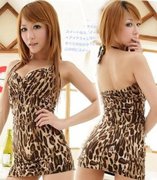 Wholesale New Full Leopard Pattern sexy lingerie backless with G string costumes adult bodysuit pajamas nightgown