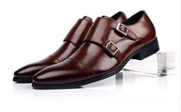 2017 chaussures robe de moine Cadeau Parti cuir véritable chaussures de robe de vente chaude Hommes Double Monk boucle de courroie de mariage formel de mariage brun EUR38-EUR45 promotion chaussures robe de moine