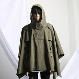 Wholesale Stylish Korean Fashion Mens - Fall-2016 Korean Fashion Harajuku Vintage Hooded Winter Cloak Stylish Mens Trench Coat Gothic Jacket Men Windbreaker Black