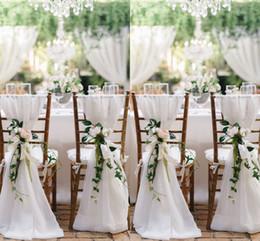 2018 White Chair Sashes For Weddings 30D Chiffon 200*65 cm Wedding Chair Covers Chiavari Chair Sashes DIY Style