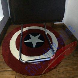 70cm Captain America Shield Carpet Cartoon Circle Handmade Living Room Parlor Hallway Bathroom Mats Rugs Cushion