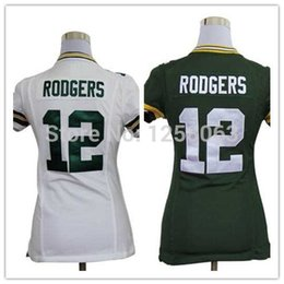 Wholesale Factory Outlet Christmas Clearance Sale Aaron Rodgers White Green Authentic Women Football Jerseys Size S XXL Mix order