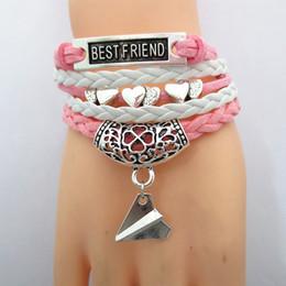 Descuento regalos para los amigos Las pulseras hechas a mano de la manera pulseras de múltiples capas del corazón de la cadena de la cuerda pulseras del corazón de la plata alean los mejores amigos de la aleación del cinc para el regalo