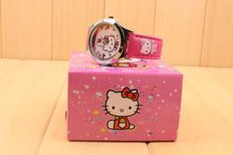 Wholesale 10PCS hello kitty cartoon kids girls children alloy wristWatch with boxes gifts quartz watch