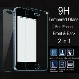 Wholesale-2 pcs lot Front + Back  Tempered Glass for iPhone 5s 5c 5 Explosionproof Anti-scratch Screen Protector Film for iPhone5 s