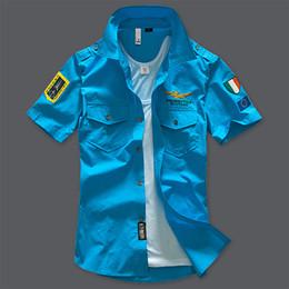 Wholesale 2016 brand Summer aeronautica militare Short sleeve shirt men air force one embroidery casual Army shirt