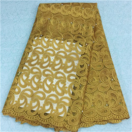 New fashion design african lace fabric with beads french net lace cloth for party dress BN14-2,5yards pc