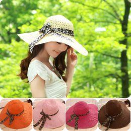 Wholesale-Elegant Women Girls Hollow Brim Summer Beach Sun Hat Straw Floppy Bohemia Cap