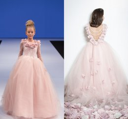 Wholesale Isabella Blush Arabic Flower Girl Dresses Backless Lace Child Pageant Dresses Holy Communion Flower Girl Wedding Dresses F49