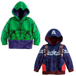 Wholesale Children s Jackets the Avengers Age of Ultron Autumn new boys hoodies Hulk Captain America kids coat baby boy clothes cheap HX