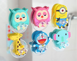 New Toothbrush Holders Creative household toiletries Cute cartoon suction-cup toothbrush rack Wooden toothbrush rack 6 style