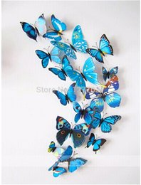 2015 12pcs Set 6big+6 small 3D Simulation Butterfly Tatoos Wall Sticker Home Decal DIY Home Decoration Wallpaper Wedding Decoration