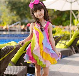2015 New Girl Dress rainbow candy sweet gauze slip dress Big children girls dress for 3-10T
