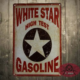 Wholesale White Star High Test Gasoline Metal Sign Poster man cave Hot Rod