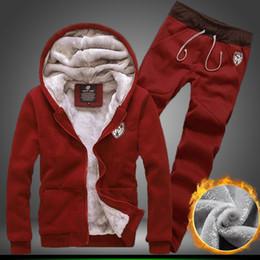 Wholesale Free new autumn winter plus velvet warm hoodie sweat pants sport suit coat pants male and female models fashion solid color