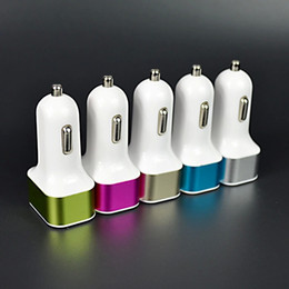 Wholesale New USB Ports A Car Charger For iPhone Samsung HTC LG Mini Car Charger Adapter Multicolor available